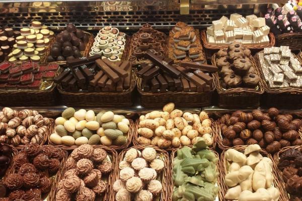 Chocolates at La Boqueria Market Barcelona